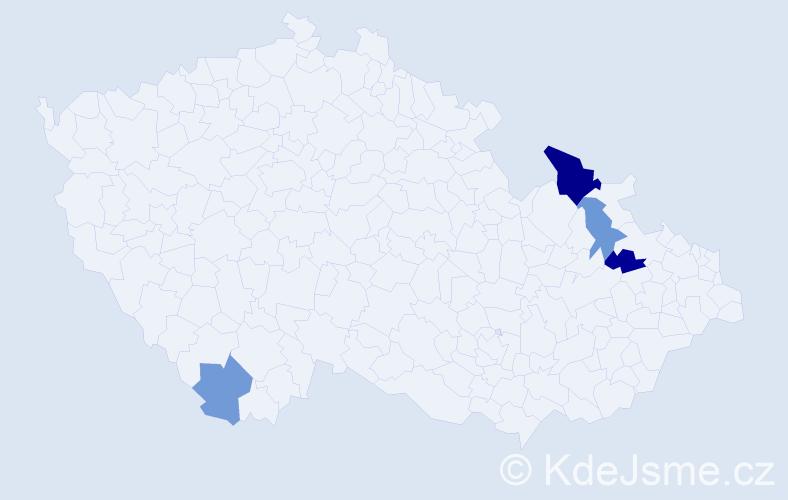 Příjmení: 'Husvéth', počet výskytů 6 v celé ČR