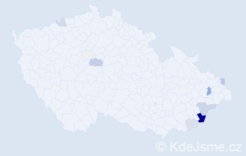 Příjmení: 'Lamačková', počet výskytů 23 v celé ČR
