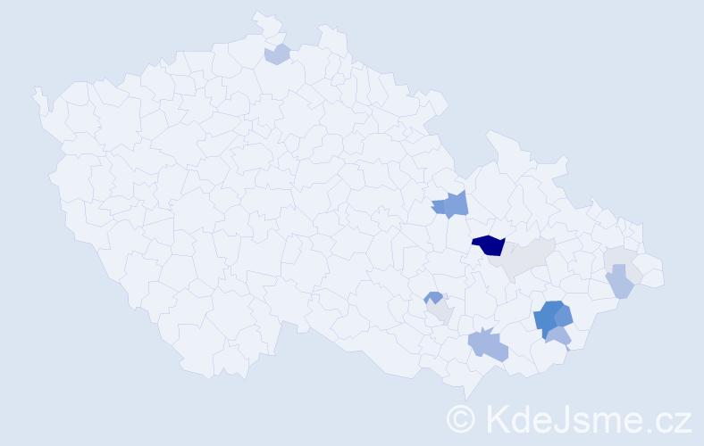 Příjmení: 'Hustý', počet výskytů 40 v celé ČR
