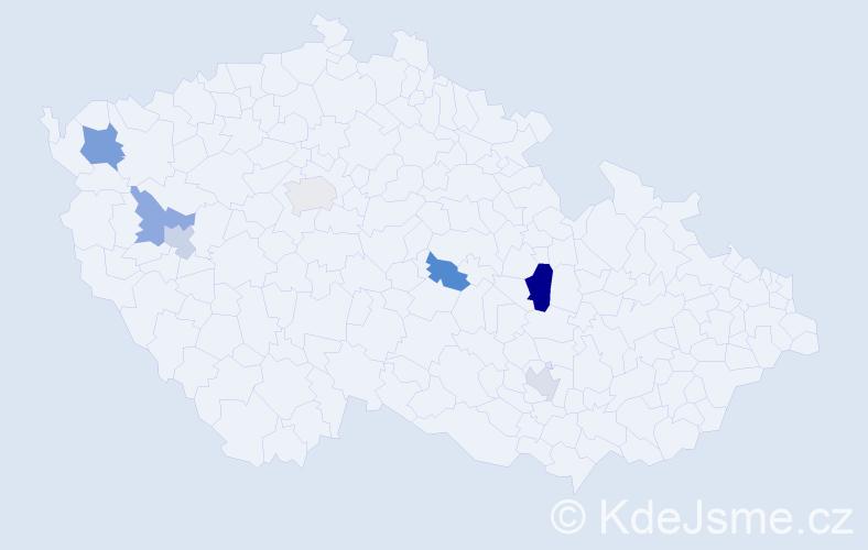 Příjmení: 'Hörlová', počet výskytů 10 v celé ČR