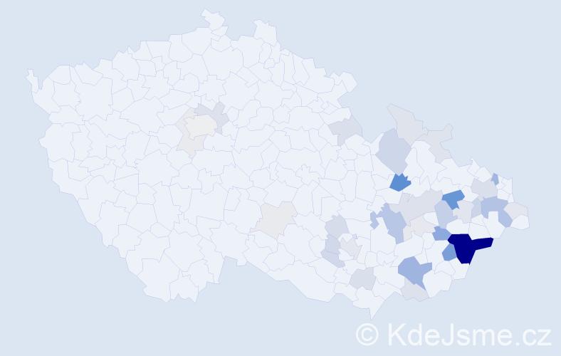 Příjmení: 'Galdová', počet výskytů 118 v celé ČR