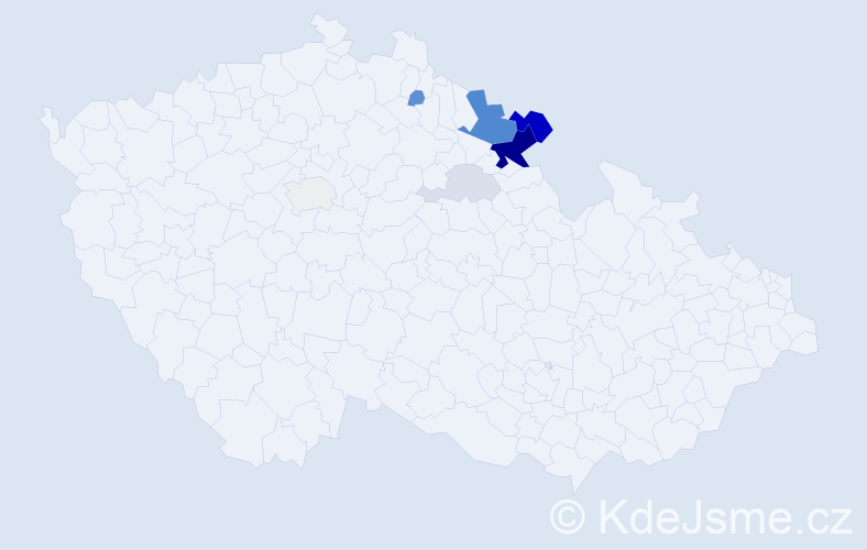 Příjmení: 'Adamu', počet výskytů 24 v celé ČR