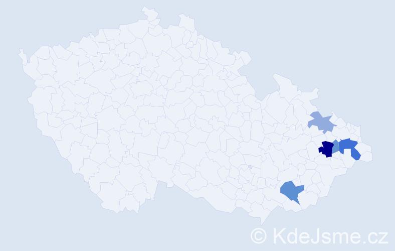 Příjmení: 'Kowalík', počet výskytů 10 v celé ČR