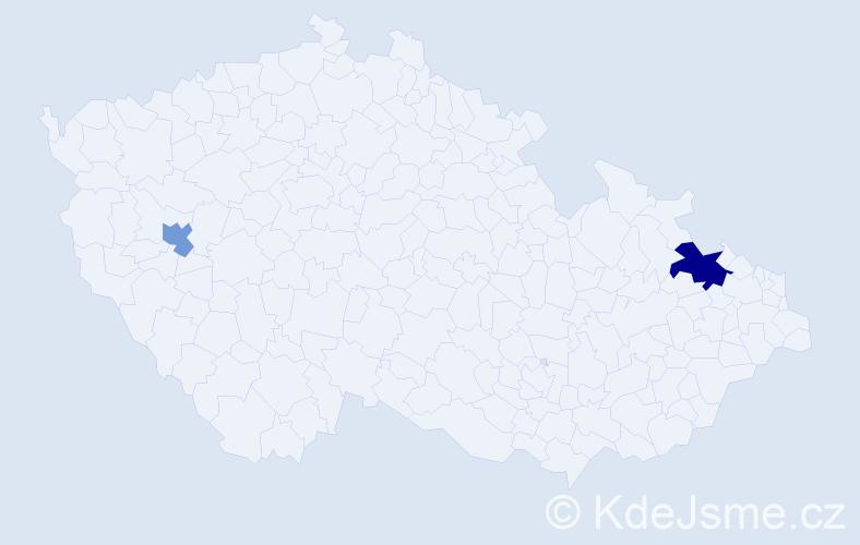 Příjmení: 'Iblerová', počet výskytů 3 v celé ČR