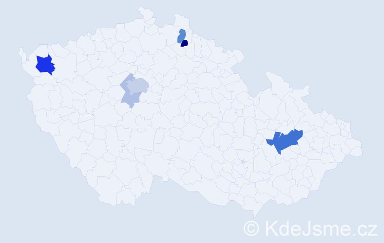 Příjmení: 'Gargel', počet výskytů 18 v celé ČR
