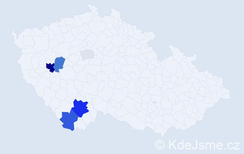 Příjmení: 'Egrmajerová', počet výskytů 11 v celé ČR