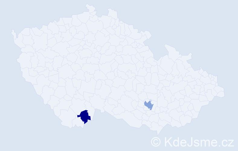 """Příjmení: '""""Costae Silva""""', počet výskytů 4 v celé ČR"""