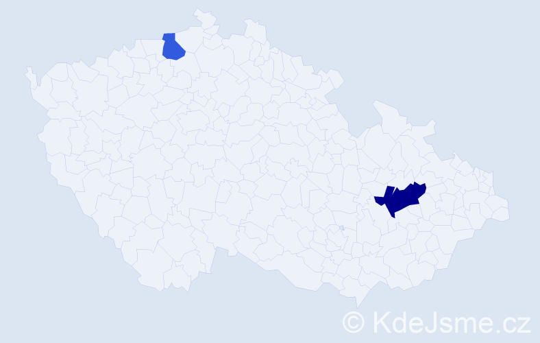 Příjmení: 'Jantáková', počet výskytů 6 v celé ČR