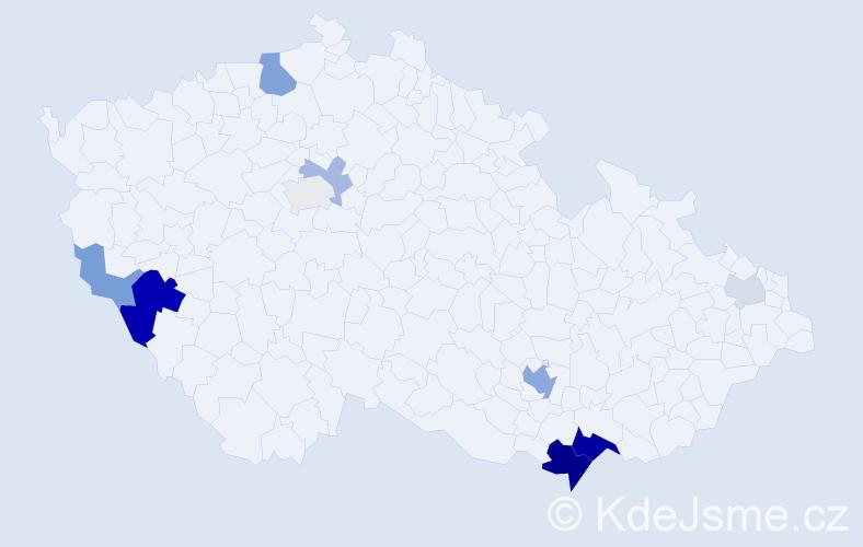Příjmení: 'Göndör', počet výskytů 24 v celé ČR