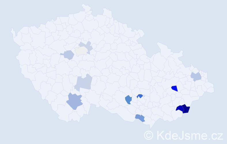 Příjmení: 'Ivaniš', počet výskytů 24 v celé ČR