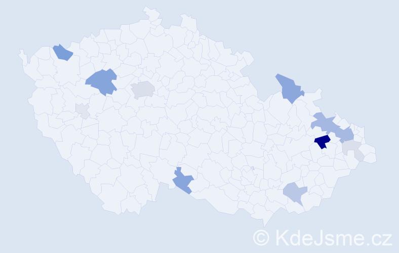 Příjmení: 'Ertelt', počet výskytů 33 v celé ČR