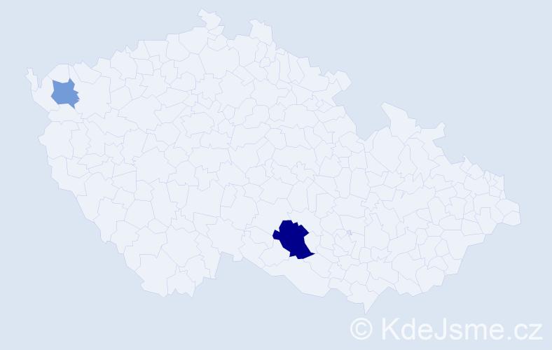 Příjmení: 'Jackiw', počet výskytů 4 v celé ČR