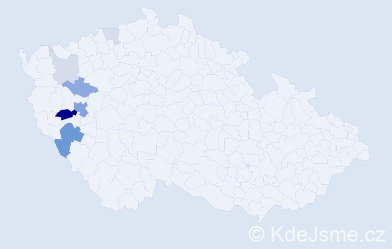 Příjmení: 'Heidlberger', počet výskytů 19 v celé ČR