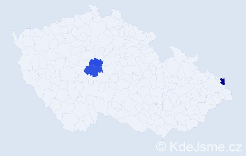 Příjmení: 'Hegegyová', počet výskytů 4 v celé ČR