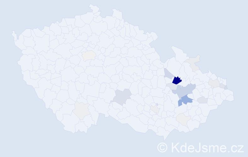 Příjmení: 'Bahounek', počet výskytů 89 v celé ČR