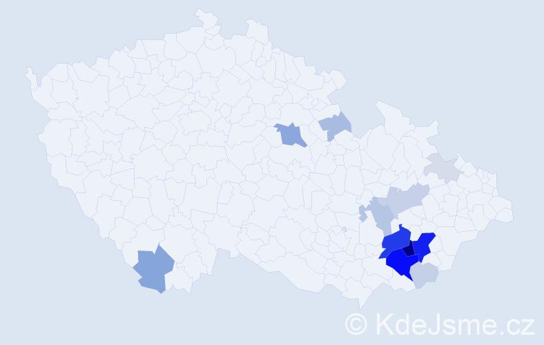 Příjmení: 'Čevora', počet výskytů 53 v celé ČR