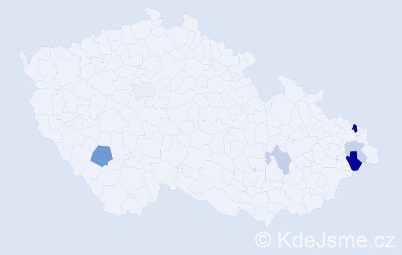Příjmení: 'Dajková', počet výskytů 12 v celé ČR