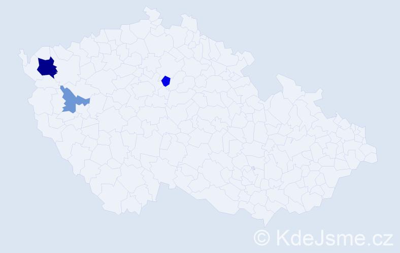 Příjmení: 'Bajerle', počet výskytů 6 v celé ČR