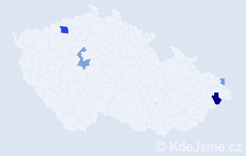 Příjmení: 'Borej', počet výskytů 5 v celé ČR
