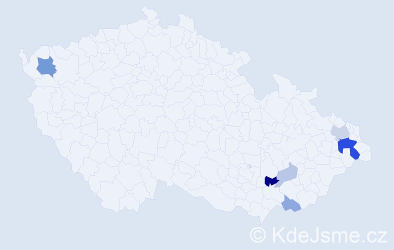 Příjmení: 'Gorošáková', počet výskytů 16 v celé ČR