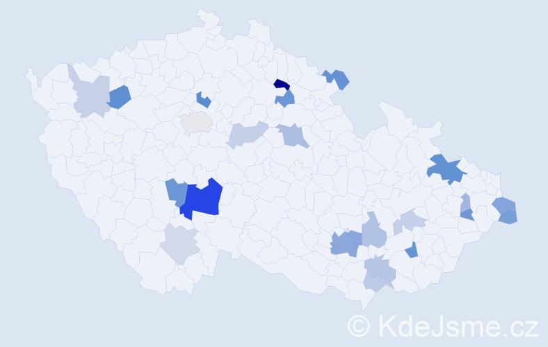 Příjmení: 'Kollárik', počet výskytů 47 v celé ČR
