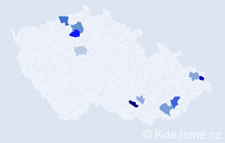 Příjmení: 'Čík', počet výskytů 18 v celé ČR
