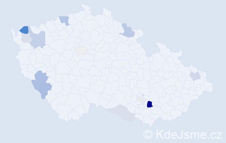 Příjmení: 'Lábr', počet výskytů 26 v celé ČR