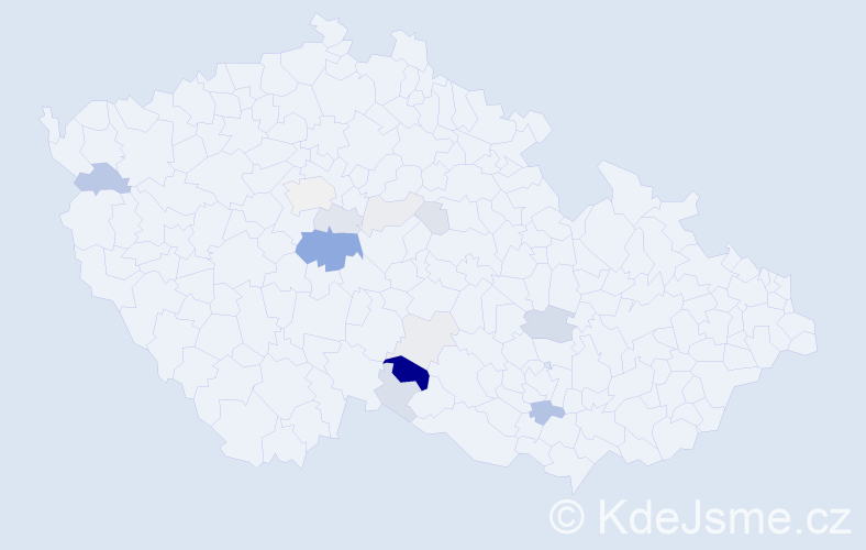 Příjmení: 'Hauzar', počet výskytů 45 v celé ČR