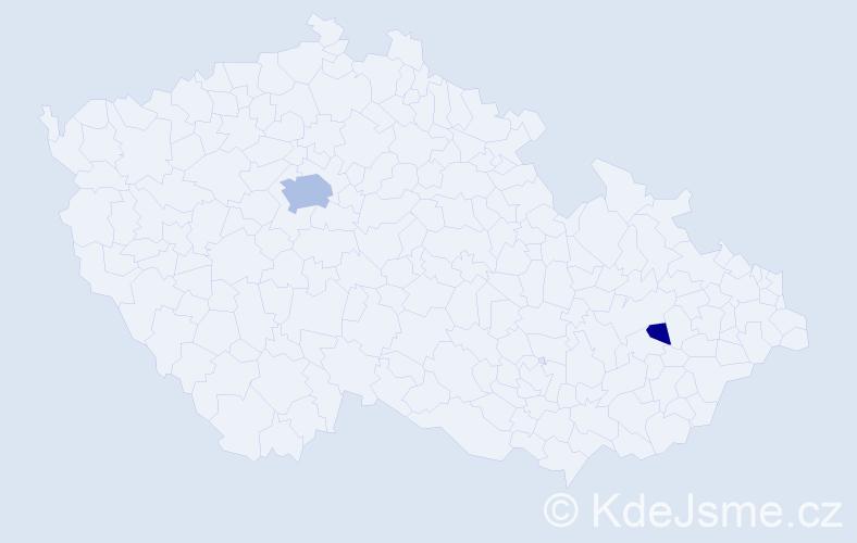 Příjmení: 'Dolášová', počet výskytů 7 v celé ČR