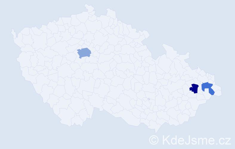 Příjmení: 'Lebeděvová', počet výskytů 5 v celé ČR
