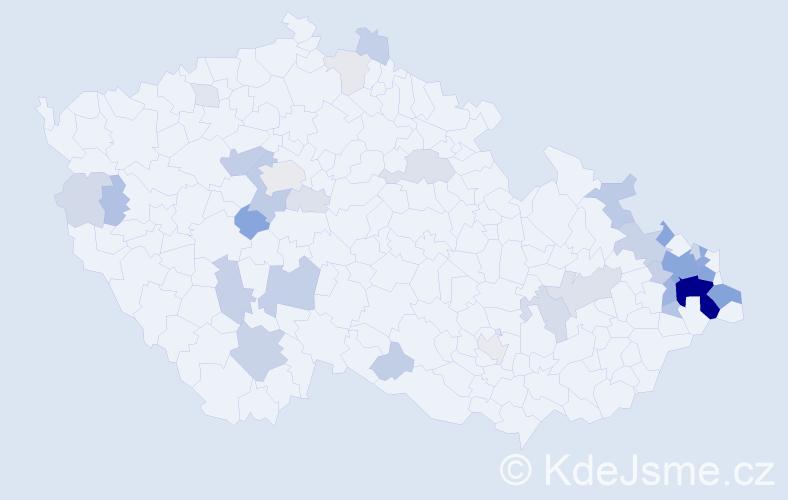 Příjmení: 'Bezecná', počet výskytů 127 v celé ČR