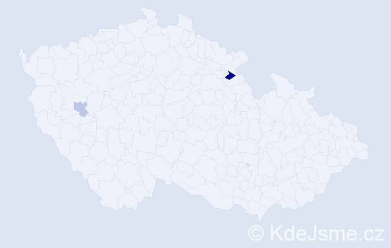 Příjmení: 'Harviláková', počet výskytů 2 v celé ČR
