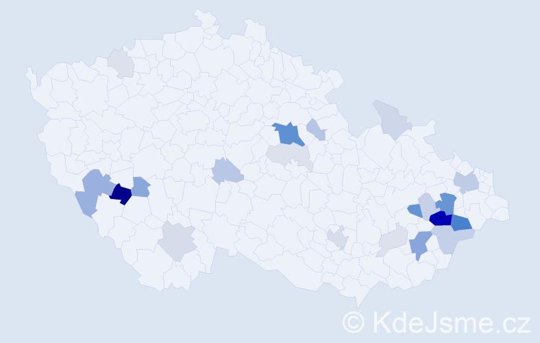 Příjmení: 'Čáň', počet výskytů 76 v celé ČR