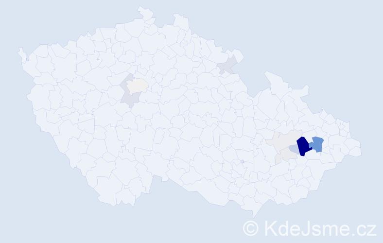 Příjmení: 'Haitlová', počet výskytů 49 v celé ČR