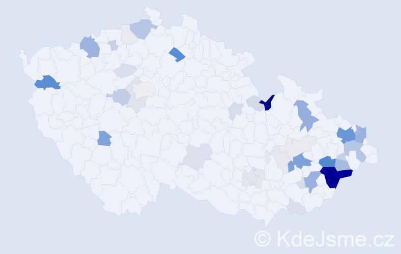 Příjmení: 'Kandráč', počet výskytů 191 v celé ČR