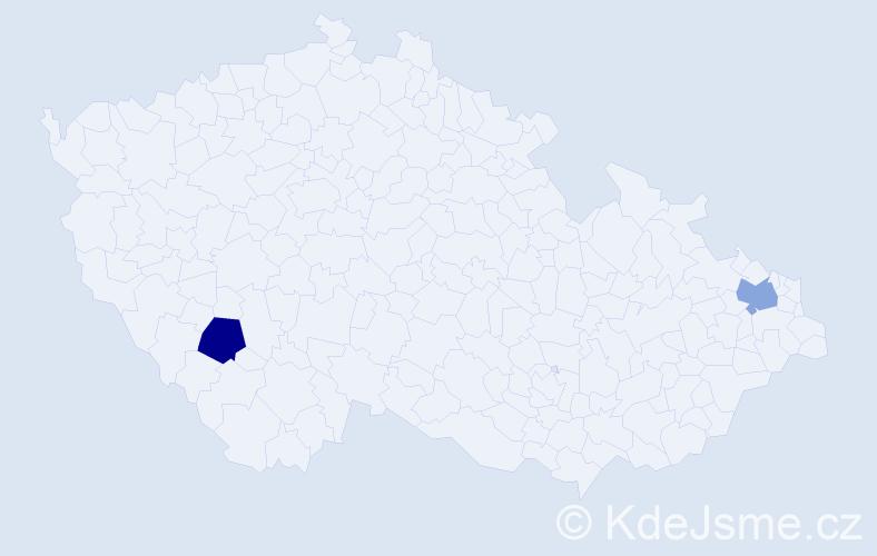 Příjmení: 'Araújo', počet výskytů 4 v celé ČR