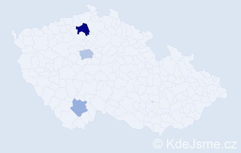 Příjmení: 'Chad', počet výskytů 8 v celé ČR