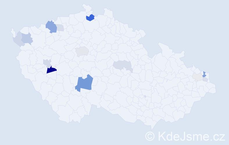 Příjmení: 'Dindová', počet výskytů 34 v celé ČR