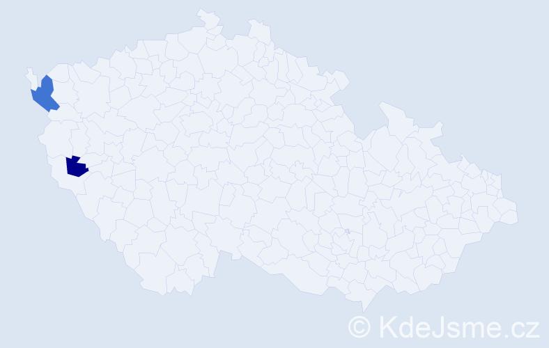 Příjmení: 'Cábek', počet výskytů 6 v celé ČR