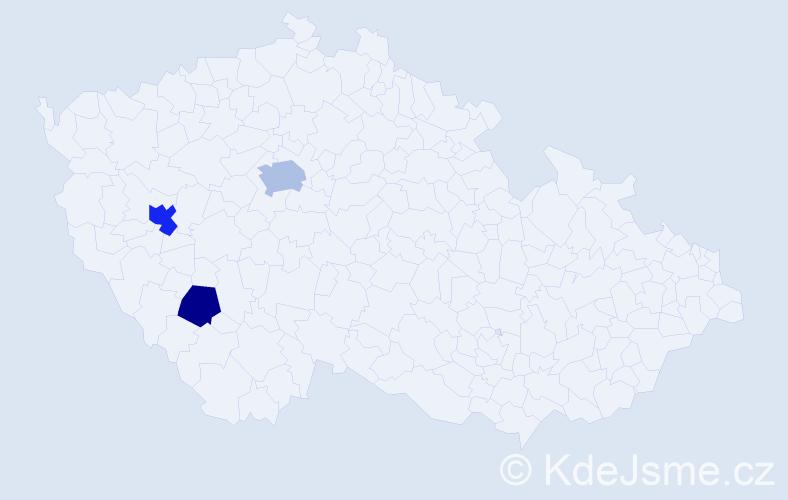 Příjmení: 'Dejaková', počet výskytů 5 v celé ČR