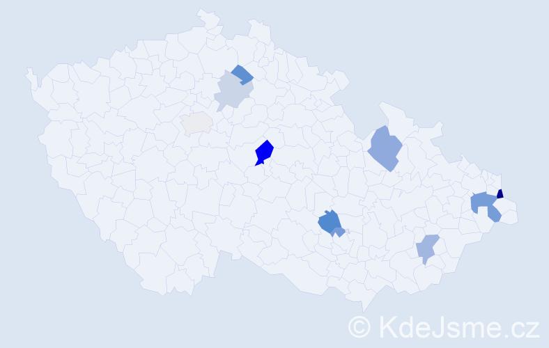 Příjmení: 'Gaľa', počet výskytů 21 v celé ČR