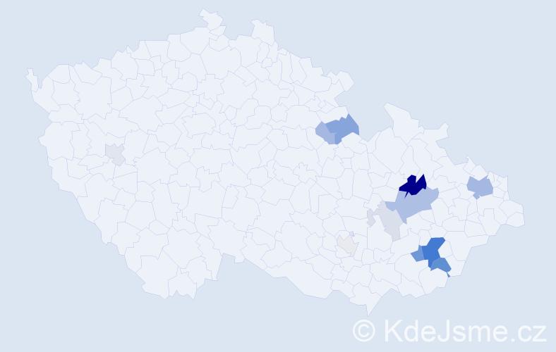 Příjmení: 'Čižmař', počet výskytů 40 v celé ČR