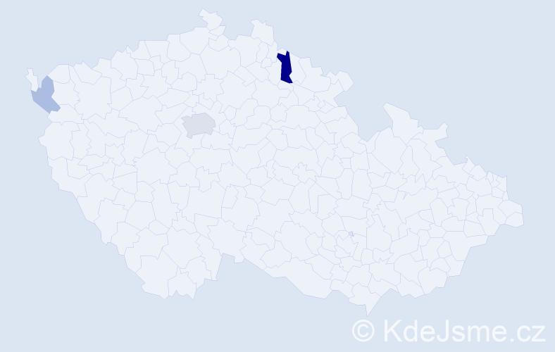 Příjmení: 'Hámek', počet výskytů 8 v celé ČR
