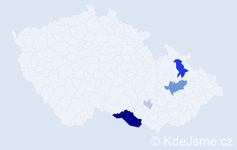 Příjmení: 'Fantal', počet výskytů 13 v celé ČR