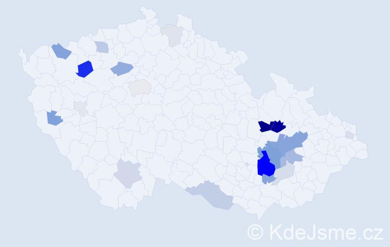 Příjmení: 'Husárek', počet výskytů 60 v celé ČR