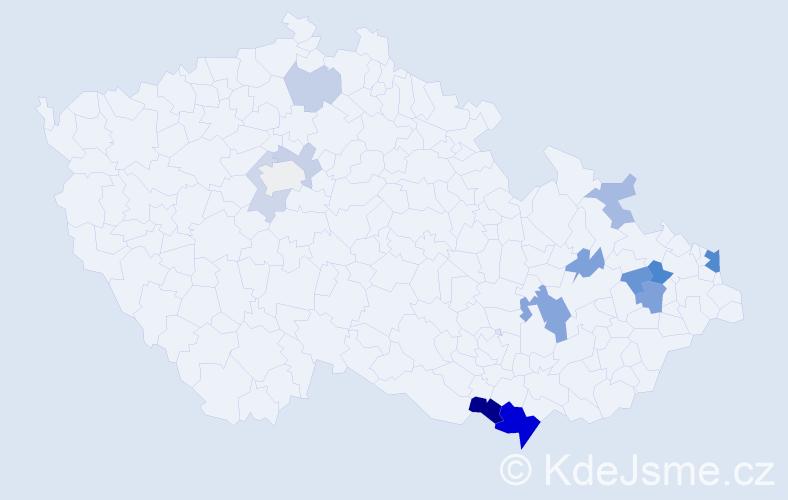 Příjmení: 'Glončák', počet výskytů 30 v celé ČR