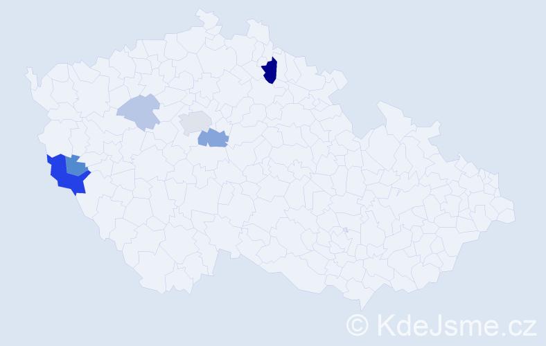 Příjmení: 'Jacáková', počet výskytů 16 v celé ČR