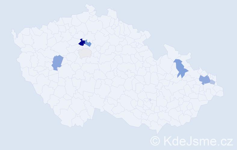 Příjmení: 'Čamajová', počet výskytů 12 v celé ČR