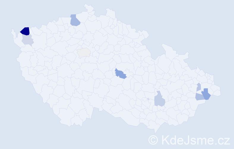 Příjmení: 'Cisárik', počet výskytů 13 v celé ČR