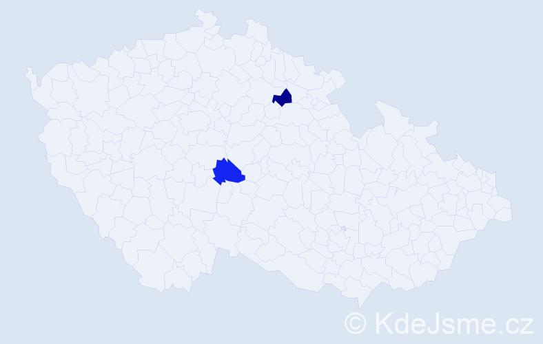 Příjmení: 'Hároníková', počet výskytů 2 v celé ČR